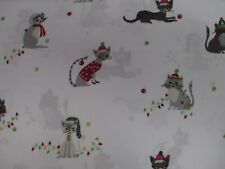 JINGLES & JOY Cats Holiday White Red Deep Pocket Sheet Set - Queen