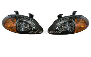 2IN1 Corner Crystal Head Lights BLACK/AMBER for 1993-1997 HONDA DEL SOL CRX