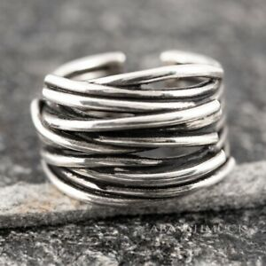 Silberring Silber 925 Ring  Verstellbar Offen Vintage R0601 🌎