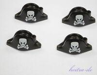 LEGO Piraten - 4 x Helm Hut Bicorne schwarz mit Totenkopf / 2528pb03 NEUWARE
