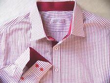 Men's PINKY TAILOR Hand Made Dress Shirt Cotton Wine-White Windowpane Check M