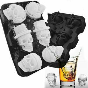 3D Black Flexible Skull Shape Ice Cube Tray Mold Silicone Whiskey Ice Ball Maker