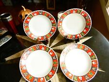 """4 New Other Christmas Happy Holidays Soup Cereal Pasta Salad Bowls 8""""R X 1 1/4"""""""