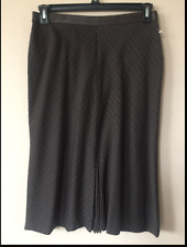 KENNETH COLE WOMENS KNEE LENGTH BROWN STRIPED A-LINE SKIRT SIZE 10