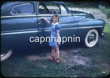 Kid Cute Little Girl & Old Car Automobile Vintage 1950s Slide Photo