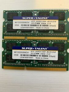 Super Talent DDR3 1333 SODIMM 16GB (8x2) Value Notebook Memory W1333SB8GV