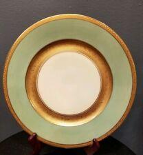 """Vintage Gold Encrusted & Green Dinner/Serving Plate Bavaria 10.25"""""""