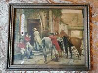 """Antique Framed Litho with thermometer """"After the Fox Hunt"""" early 1900's"""