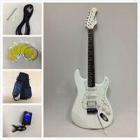 Haze E-211WH Gloss White Electric Guitar w/SSH Pickups+Free Gig Bag,Strap,Picks