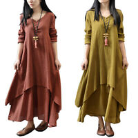 Women Long Sleeve Casual Boho Cotton Hippie Blouse Gypsy Boho Mini Long Dress