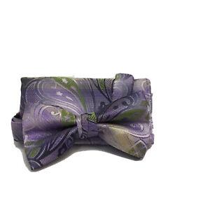 Stacy Adams Men's Bow Tie Hanky Set Lilac Lime Green Bone 100% Microfiber