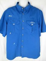 Habit Mens Size L Large Blue Short Sleeve Vented Fishing Out Doors Shirt
