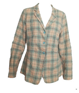 LILITH France Women's Blazer Jacket in Lightweight Pale Green Tan Plaid