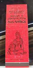 Rare Vintage Matchbook Cover K2 Kwan Yin American Cantonese Restaurant Lounge