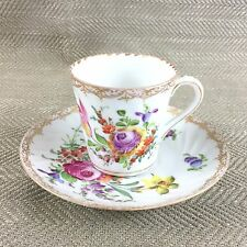Antique Dresden Cup & Saucer Hand Painted Demitasse Floral Spray Porcelain