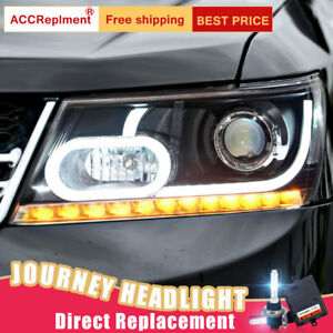 2Pcs For Dodge Journey Headlights assembly Bi-xenon Lens Projector LED DRL 09-18