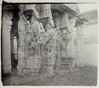 India Tempio Statue Foto N13 Placca Da Lente Stereo Positive Vintage