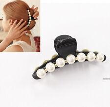 PEARL Diamante Hair Clip Claw Jaw Crocodile Butterfly Bull Dog Bridal CLAMP
