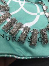 Kendra Scott Angelina Silver Rhodium Druzy Necklace $395 Retail!
