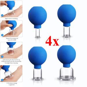 4 Schröpfglas Schröpfgläser mit Saugball Schröpfen Vakuum Massage Cupping Set DE