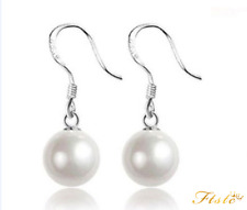 925 Sterling Silver Cultured Freshwater Pearl Drop Earrings Wedding Bridal Gift