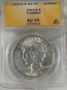 AU 1923-d Silver Peace Dollar ANACS AU55 (Cleaned). #1