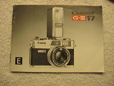 Canon Canonet G-Iii 1.7 Instructions