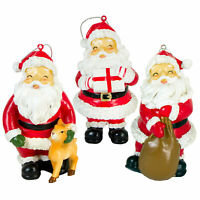 Set/3 Transpac Happy Santa Claus Red Christmas Tree Ornaments Retro Vntg Decor