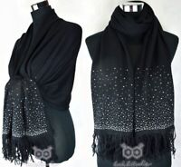 Diamante Crystal Shiny Shimmer Stone Warm Scarf Shawl Fringe Plain Hijab Large