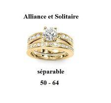 Dolly-Bijoux Alliance et Bague Solitaire T52 2en1 Pavé Diamant Cz Plaqué Or 18K