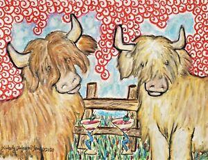 Scottish Highland Cow 11x14 Art Print / Poster, Wall Art, Home Decor Martinis
