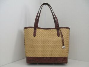 NWT BRAHMIN BROOKE CHATHAM WOVEN STRAW/EMBOSSED LEATHER LARGE TOTE W/POUCH-$345