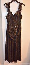 Designer Long Sleeveless Beaded Formal Gown/ Evening Black Dress Size 22