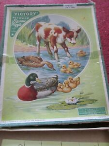 Vintage Victory 'Stepping Out' Ducks And Calf Wooden Jigsaw Puzzle Complete