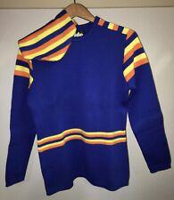 Vintage LIDO Of California Wool Ski Sweater Cap Womens Large Blue Yellow Orange