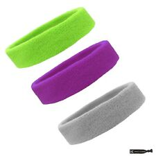 3 TERRY SWEATBAND Cotton Headbands Workout Sport EXERCISE SWEAT HEAD BANDS LPRGY
