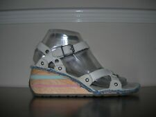 THE ART COMPANY WOMEN'S SANDALS STRAPPY WEDGES STONE GREY LEATHER EU 37 / UK 4