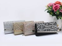 New Women's Ladies Colour Gems & Diamante Evening Clutch Bag/Party/Wedding/Prom