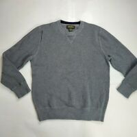 Eddie Bauer Men's Large Thick Knit Sweater Grey Crew Neck 100% Cotton Hiking