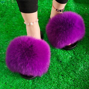 Popular Women's Slides Real Fox Fur Slippers Summer Beach Sandals Shoes Sliders