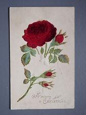 R&L Postcard: Christmas Rose Flower, Velvet & Embossed,