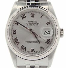 Rolex Datejust Mens Stainless Steel & 18K White Gold Sapphire Silver Roman 16234