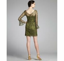 Kay Unger olive lace sequined long bell sleeve v-neck dress SZ 8 NEW $484