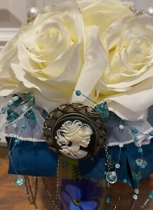 Handmade Bouquet Turquoise and Ivory with Skeleton Brooch and Steampunk Chain