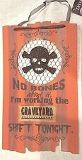 Graveyard Shift Sign Orange Black Glitter Skull Ribbon Hanger 14x8 Halloween NWT