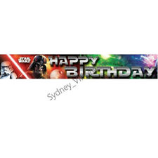 STAR WARS BANNER FOIL PARTY SIGN DECORATION HAPPY BIRTHDAY BOYS HANGING WALL