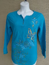 NEW  JUST MY SIZE L/S JERSEY KNIT GLITZ GRAPHIC HENLEY TEE TOP TURQUOIS MULTI 4X