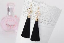 Long black tassel drop earrings with beautiful crystal stone detail sale £2.99