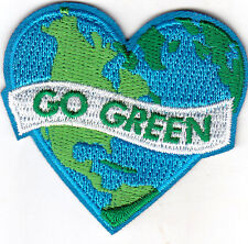 """GO GREEN""- IRON ON EMBROIDERED PATCH - Earth, World, Universe, Go Green"