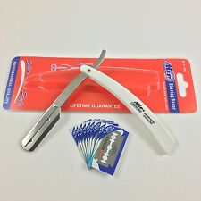 Shaving Straight Barber Razor White Plastic Handle Shavette with 10 Blades